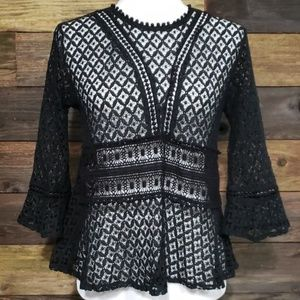 Hazel Black Lace Eyelet Peplum Top
